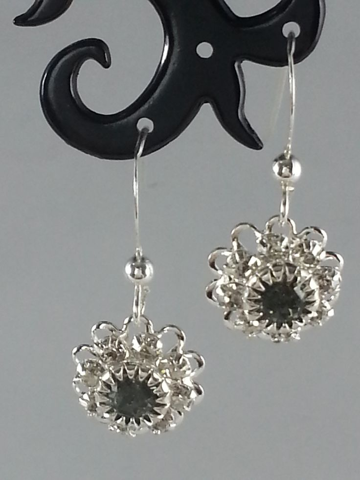 Jet and clear Swarovski crystals on sterling silver earrings