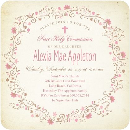 Encircled in Flowers - Shabby Chic / Vintage-looking First Communion Invitations