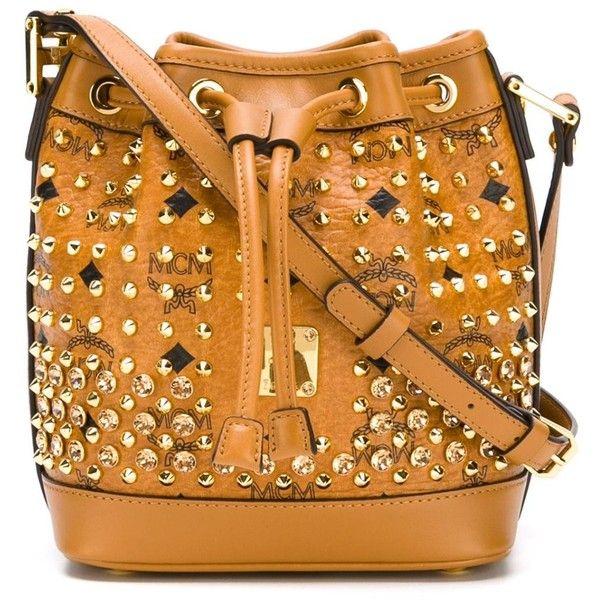 MCM Diamond Drawstring Bucket Bag ($1,181) ❤ liked on Polyvore