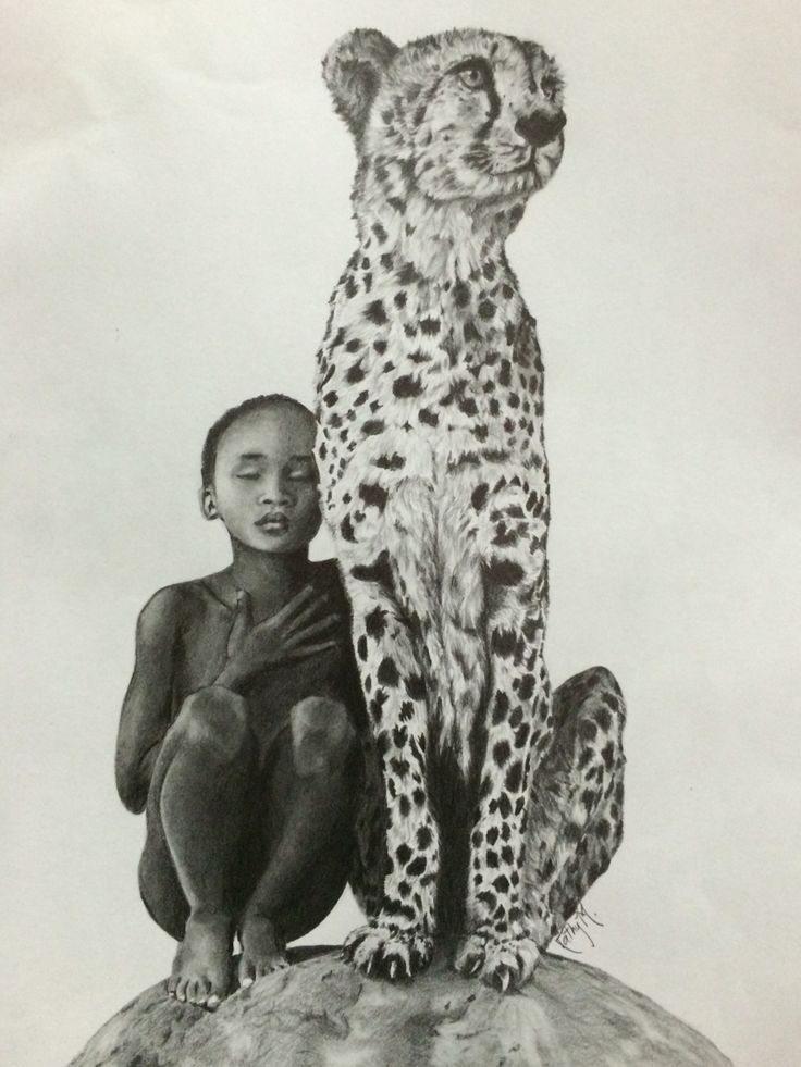 Boy and leopard drawing (based on Gregory Colbert's photo)