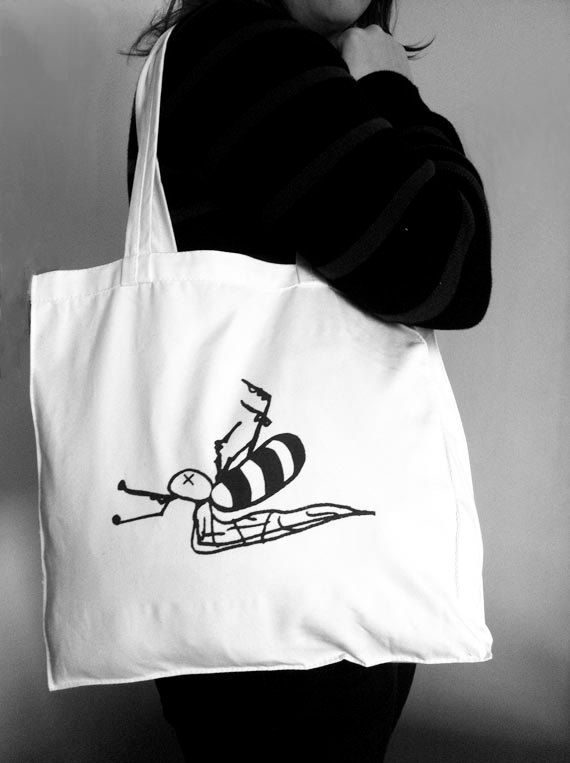 Bee Dead Tote Bag by HoneysDead on Etsy, $15.00
