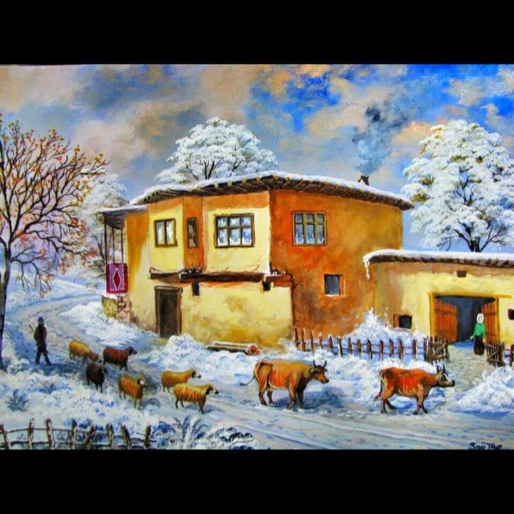 ✨KIŞ KÖY EVİ ✨ Tuval Üzeri Yağlı Boya.  #resim #tablo #sergi #resimsergisi #ressam #yağlıboya #oilpainting #sanat #ankara #izmir #istanbul #art #artwork #fineart #vscocam ✨Bu Esere Sahip Olmak İçin; Okan Sartaş 05074409494✨ #drawing #canvas #ig_turkey #turkeyinstagram #turkeyartist #artofdrawing #ig_art
