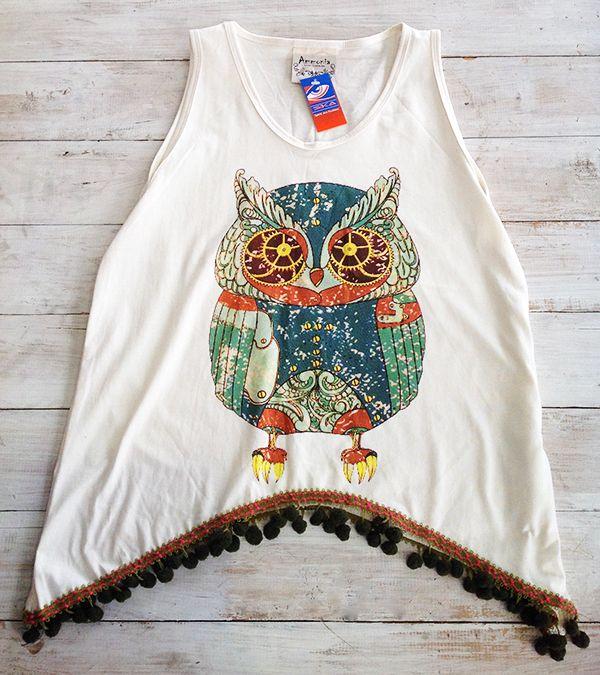 Owl pom-pom vest, R310.