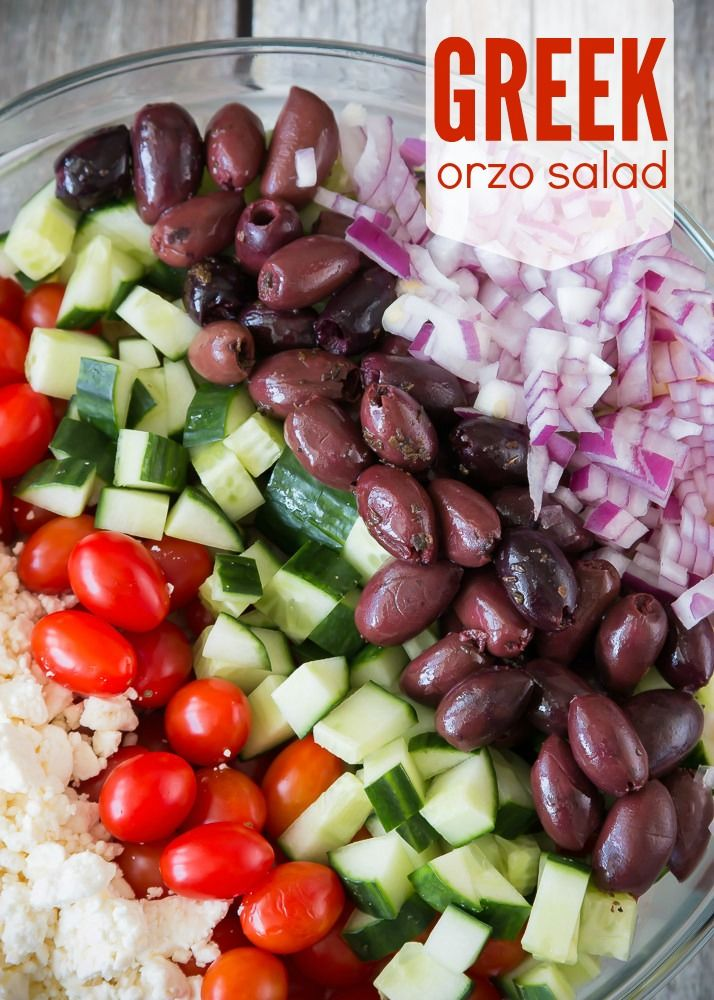 Greek Orzo Salad...vegan as written, though chicken or steak or even cheese could be added.