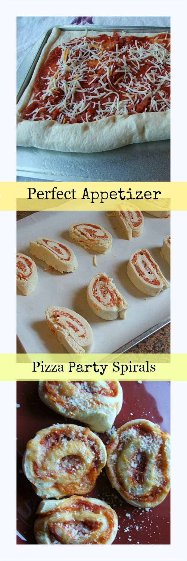 Pizza Party Spiral Appetizers. Make ahead, freeze, serve.