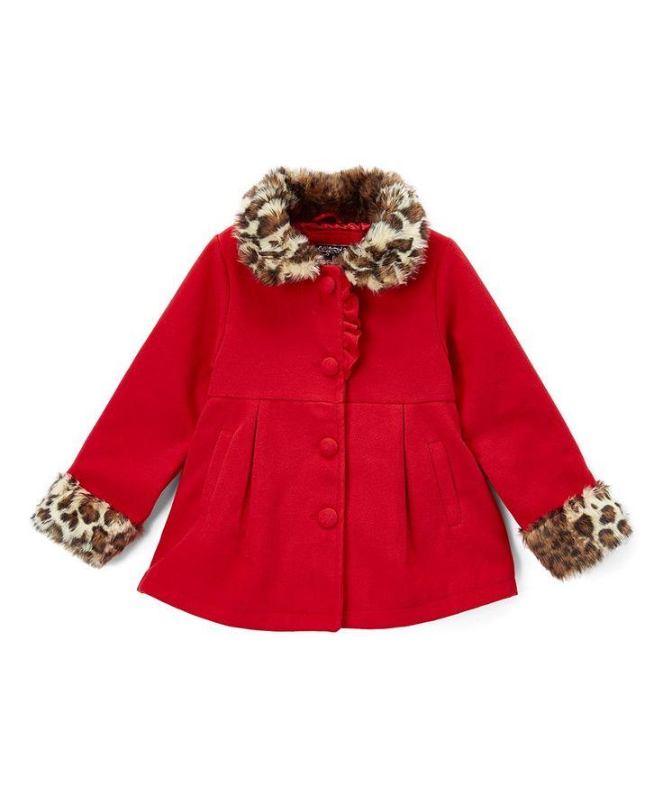 Red Faux Fur-Trim Peacoat - Girls