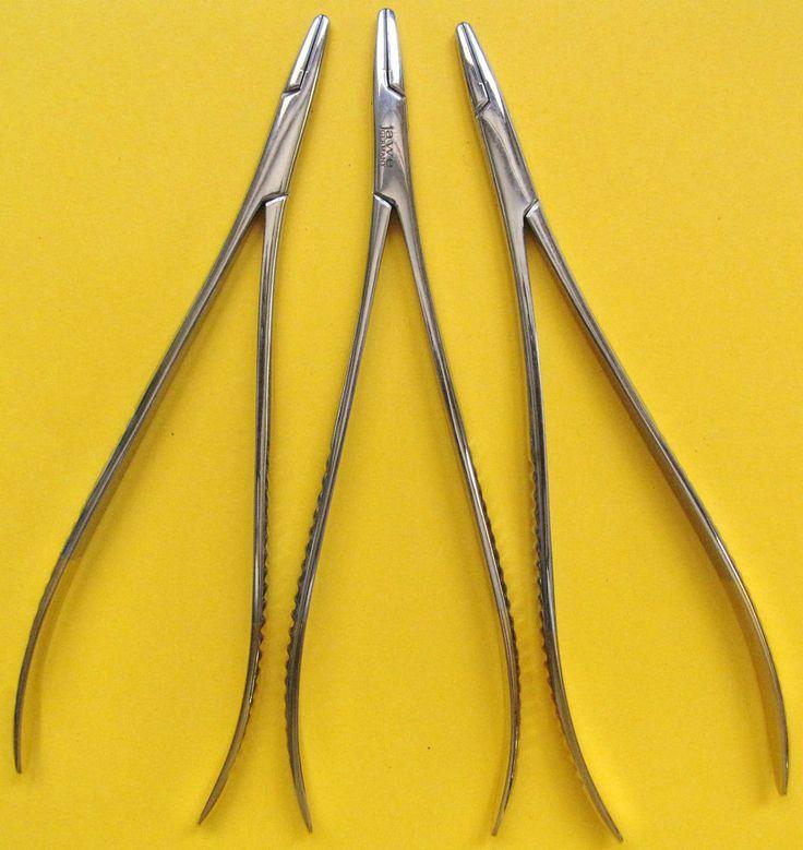 3 St.Nadelhalter-Needle holder,TOENNSEN,TC,18CM Vergoldet,Hochwertiger Edelstahl
