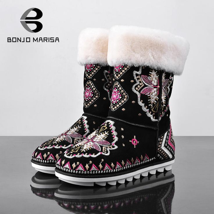 2016 Cowhide Leather Chinese Flower Embroidery Warm Fur Shoes Women Winter Boots Rubber Sole Mid calf