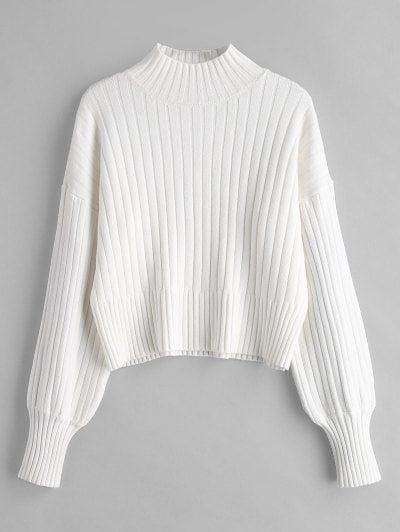 350788d4b52 Dropped Shoulder Mock Neck Sweater