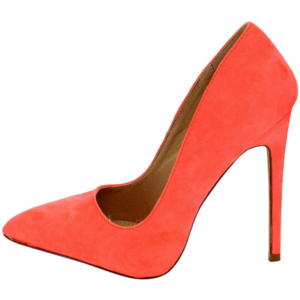 GRACE NEON CORAL POINTED TOE STILETTO FASHION HEELS ONLY $10.88 ($11) ❤ liked on Polyvore featuring shoes, wedge flats, coral flats, high heel stilettos, flat pointy toe shoes and coral wedge shoes