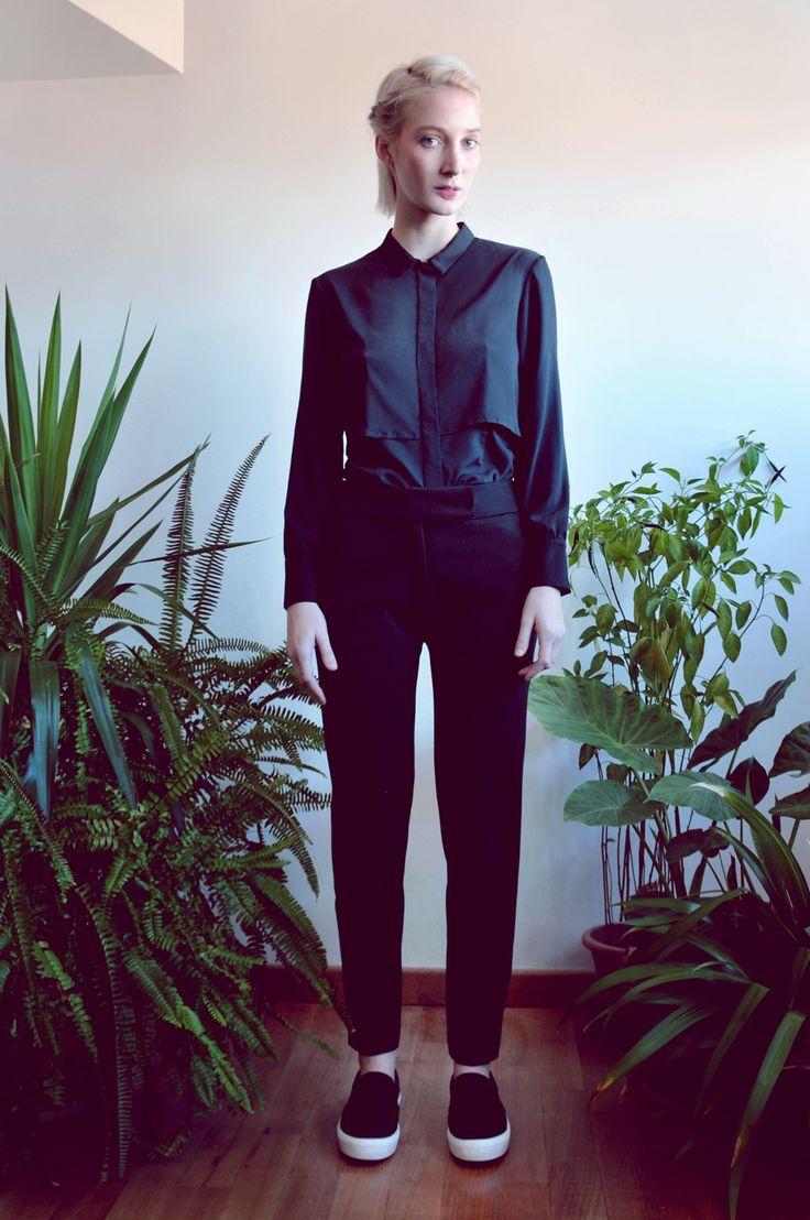 Aroma30 - Minimal chic Black layered shirt / Urban trousers