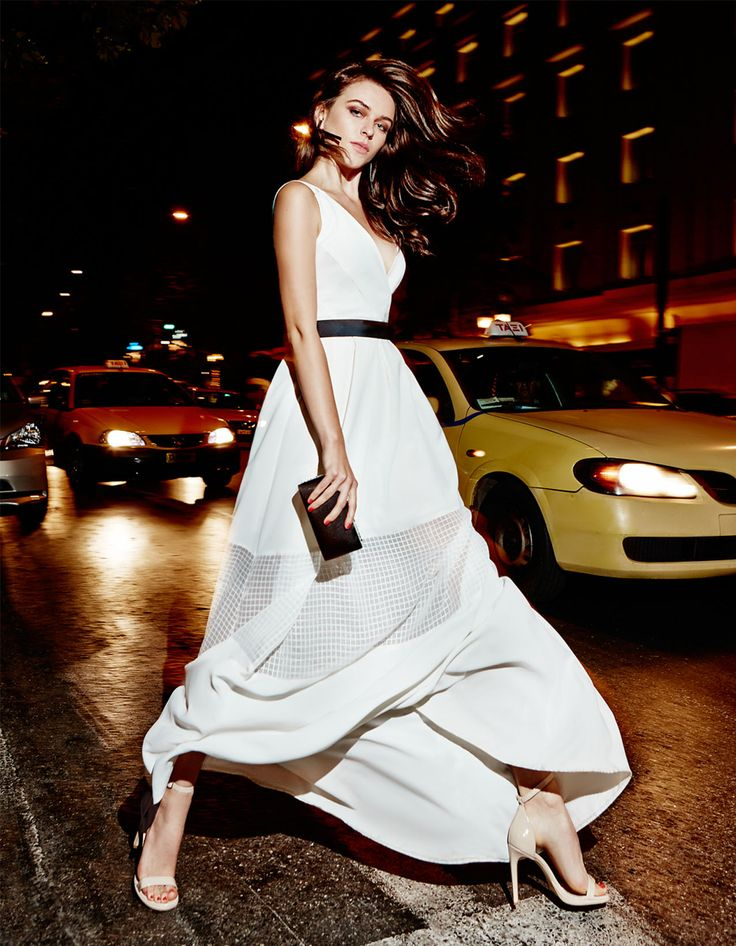 elegant evening long dress, chic style