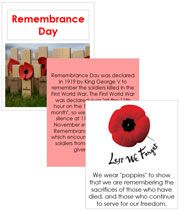 Free printable Remembrance Day Cards, Booklet, and Poem