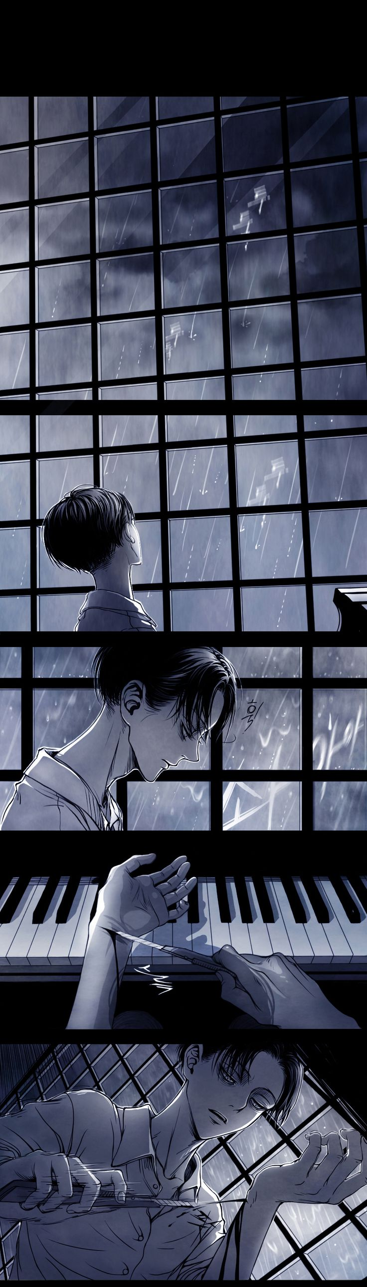 The Piano by shul (Part 1)- *TW Cutting and Suicide* this is a disturbing comic. Not a Levi+Eren shipper but there's something compelling about this...