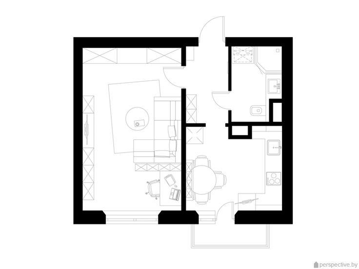 Дизайн-проект интерьера однокомнатной квартиры для холостяка. Квартира площадью 37,2 м2 в доме типовой серии КОПЭ, г. Москва