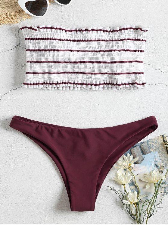 ebfe72b2c2a Striped Smocked Bandeau Bikini Set in 2019 | { S w i m w e a r ...