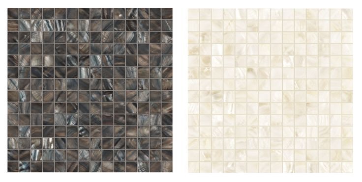 Bathtubs with mosaic exteriors: a couple of options in mother of pearl.