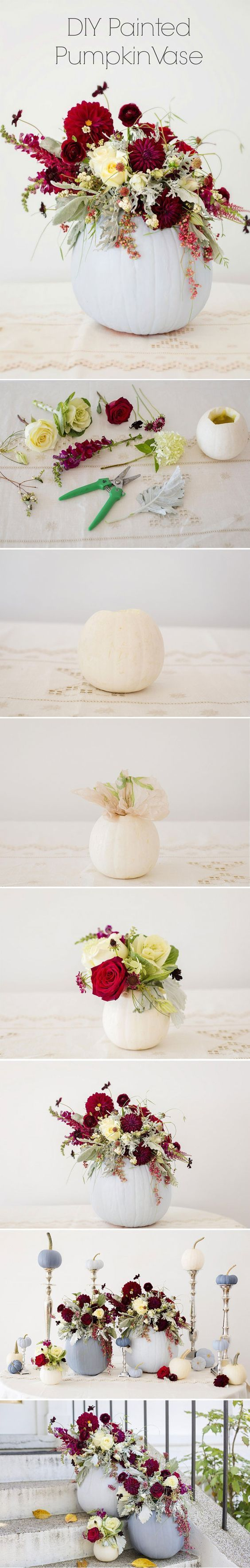 DIY painted pumpkin wedding vases ideas for Halloween weddings / http://www.himisspuff.com/diy-wedding-centerpieces-on-a-budget/21/