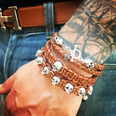 Add a pirate edge to your attire with this stack of bracelets by Flibustier Paris Leather and sterling silver