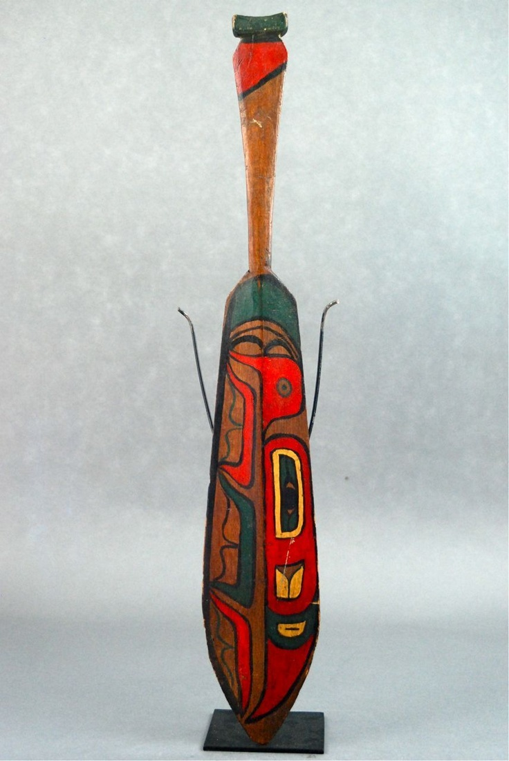 Old used 24 inches northwest coast painted wood potlatch for Canoe paddle tattoo