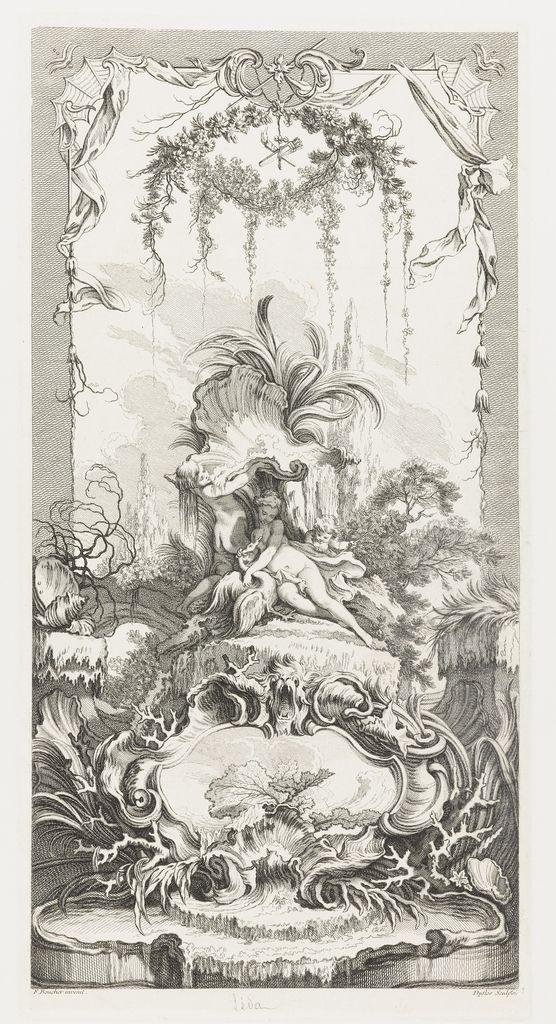 Print, Léda in Nouveaux Morceaux pour des paravents [New Concepts for Screens], 1740