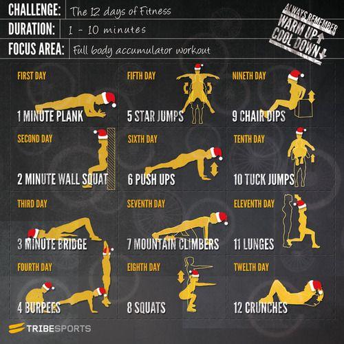Si tienes miedo de ganar peso en vacaciones, aquí hay rutina ejercicios12 días q puede hacer p/mantenerse delgado y en forma. 1 º Día: 1 minuto tablón 2º Día: 2 minutos de la pared en cuclillas 3º: 3 minutos del puente 4 º Día: 4 burpees 5º día: 5 estrellas salta 6º día: 6 pectorales 7º día: 7 alpinistas 8º día: 8 sentadillas 9º día: 9 silla sumerge día 10: 10 tuck salta 11 Día: 11 estocadas 12 º Día: 12 abdominales Verifique todos los detalles en: Holiday Fitness Rutina