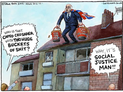 Steve Bell cartoon - the Tory definition of 'social justice'
