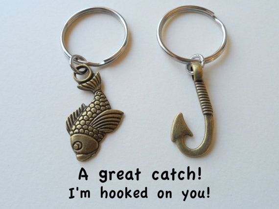 This listing is for 2 keychains. A fish keychain and a hook keychain. From the drop down menu select to have just the fish and hook keychains or