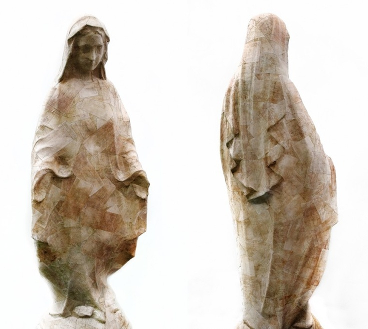 JE BAAK|HADA CONTEMPORARY |    The Complex Question Fallacy 006 | sanded and bleached money on statue of the Virgin Mary | 120x45x40 cm | 2012