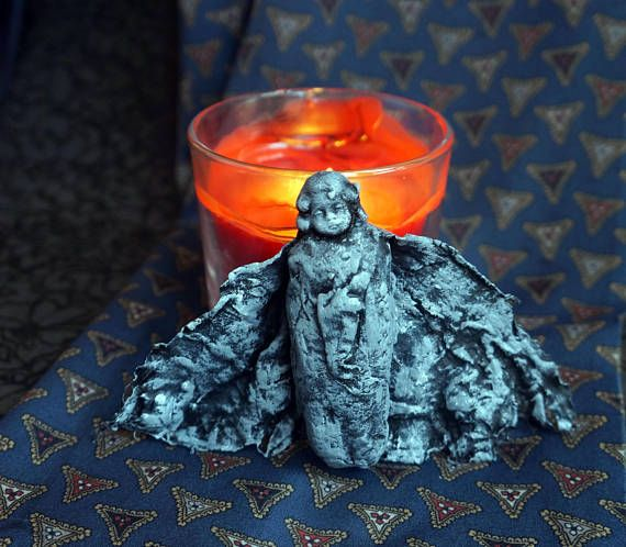 Gothic ornament  miks media  Cotton Batting Christmas