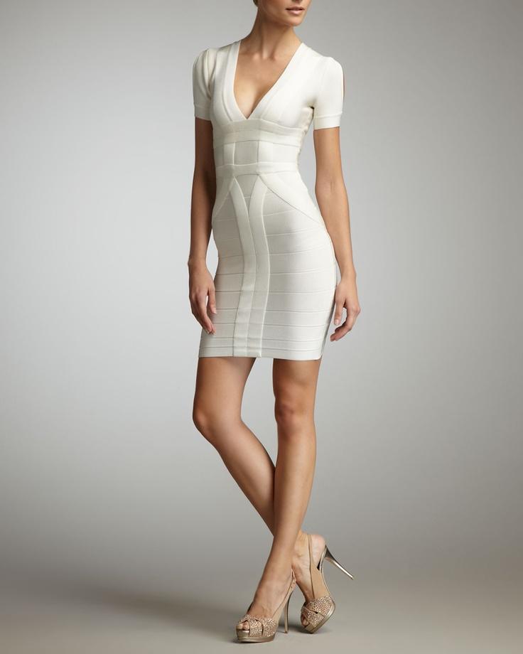 Gojee - Short-Sleeve V-Neck Bandage Dress by Herve Leger