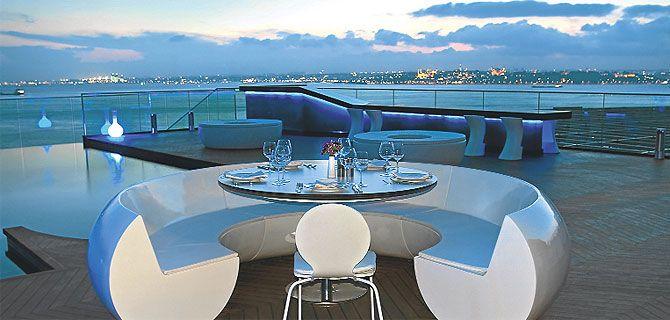 Bir çok uluslararası ödüle sahip 360istanbul, tarihi ve kadim Mısır Apartmanı'nın en üst katında yer alıyor. 360 derece nefes kesen İstanbul manzarası eşliğinde, seçkin şarap ve zengin bar mönüsü ile Dünya ve modern Türk mutfağından öğle ve akşam yemeği servis ediyor. Yurtdışından ünlü sanatçılar ve DJ'ler konuk eden 360 İstanbul, canlı show'ları ile hafta sonları club'a dönüşüyor.