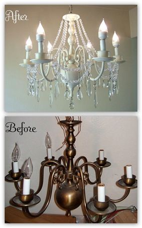 Our dining room light fixture looks like the before picture, I hate it and plan on replacing it with another Pinterest project.  NOW, I think I will be making a chandelier out of it for our master bedroom.