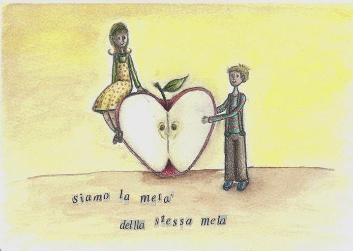 """""""La metà della mela"""" pastelli, acquerelli e ritagli di giornale su carta di Evita Cantoni"""