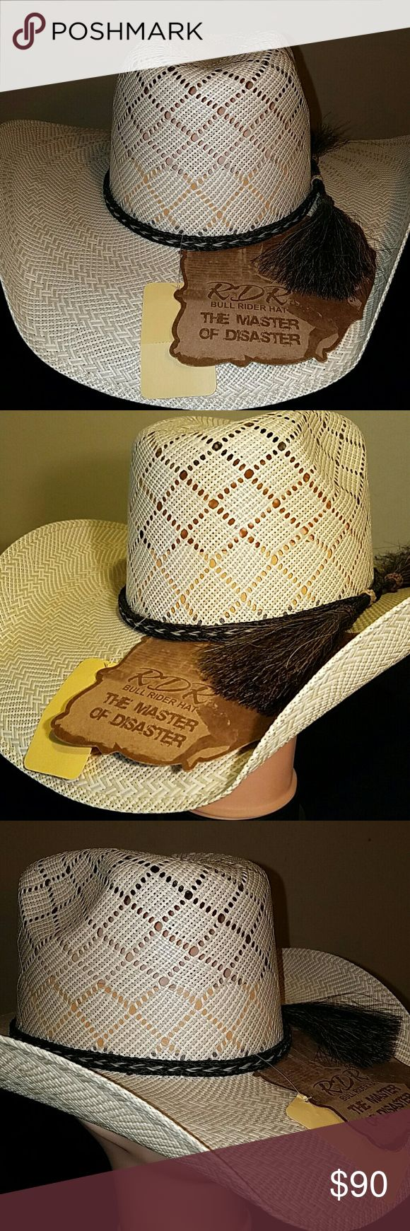 """Cowboy hat """"Master of Diaster"""" Beautifully crafted two tone Cowboy hat with horse hair hat band and leather head band.   Diagonal light weight weave, 5"""" vented crown, 4 1/4 in brim. RDR Accessories Hats"""