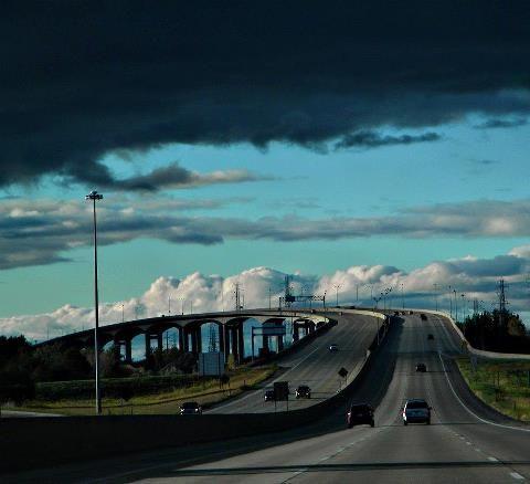 """The Zilwaukee Bridge, near Saginaw, Michigan.  Anybody going """"Up North"""" has had to cross this."""