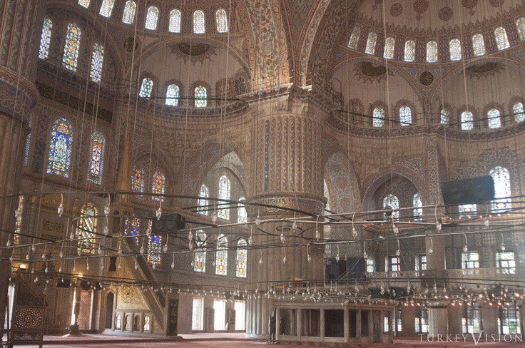 "The dome sits on pendentives carried on four colossal piers or ""elephant feet"" that delineate the central court. Beyond the court, the space is extended by use of semi-domes and buttresses that transfer the lateral loads to piers set inside the walls. #architecture #ottoman #bluemosque"