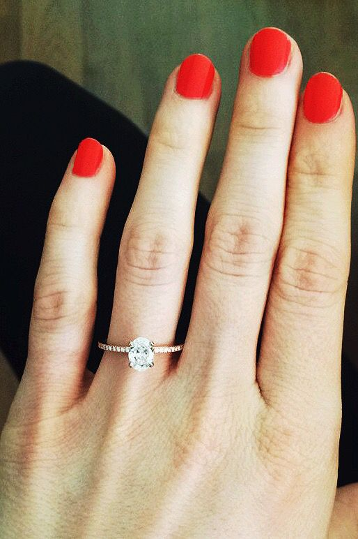 Dainty, Oval, Rose Gold Engagement Ring