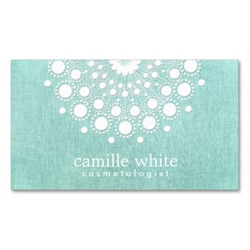Cosmetology Pretty Circle Motif Light Aqua Blue Business Cards