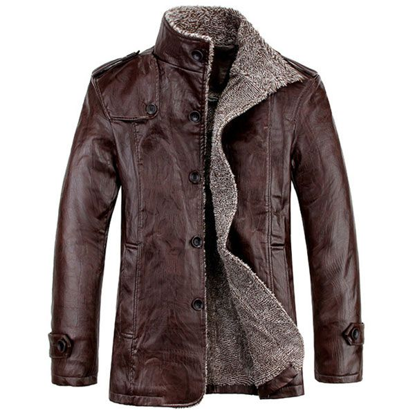 Quality PU Leather Slim Fit Plush Lining Warm Jacket