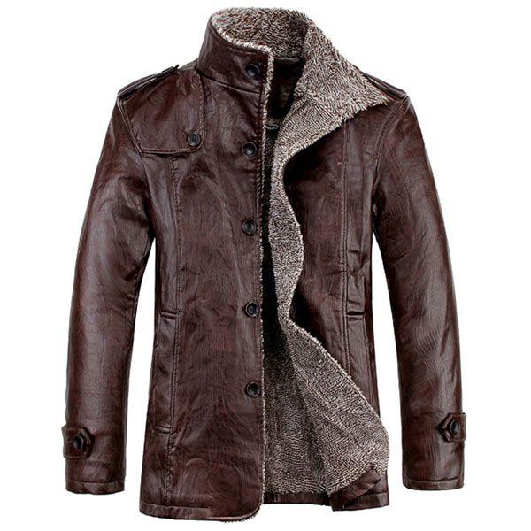 Hombres PU de cuero de calidad Slim Fit felpa forro de la chaqueta caliente