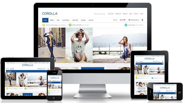 Opencart webáruház sablonként fejlesztett Corolla templét igazi professzionális kialakítást jelent egy új webáruháznak