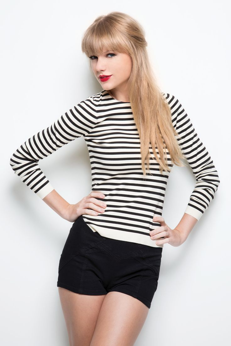"""Taylor Swift's Black and white striped shirt and black shorts for """"Red"""" album photoshoot.  Outfit details: http://wwtaylorw.com/1251/"""