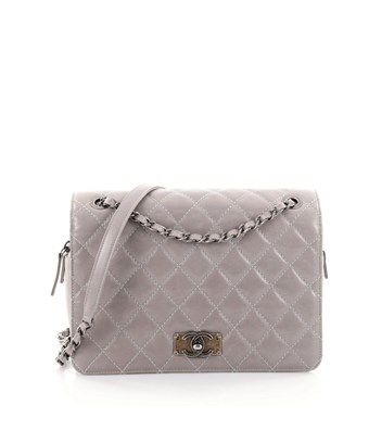 1f3abdcf612b CHANEL PRE-OWNED: CC HIDDEN ZIP FULL FLAP BAG QUILTED AGED CALFSKIN WITH  NUBUCK MEDIUM. #chanel #bags # #