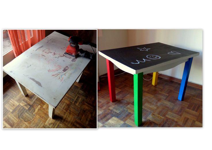 Restauración de mesa estilo infantil. La hice pizarrón para que los niños se diviertan dibujando en ella / Chalk board table