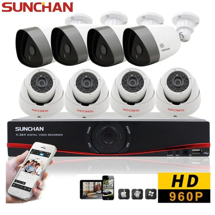 8CH 960P HD Security Camera System Indoor Outdoor 1080N HDMI DVR Home CCTV Kits #SUNCHAN