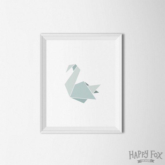 Origami Swan Art, Geometric Swan print, Modern art, Gray wall art, grey print…