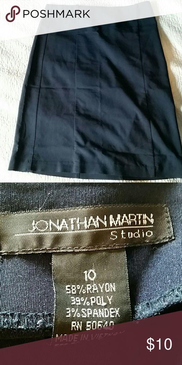 Jonathon Martin Navy Midi Stretch Skirt Stretch Skirts Midi