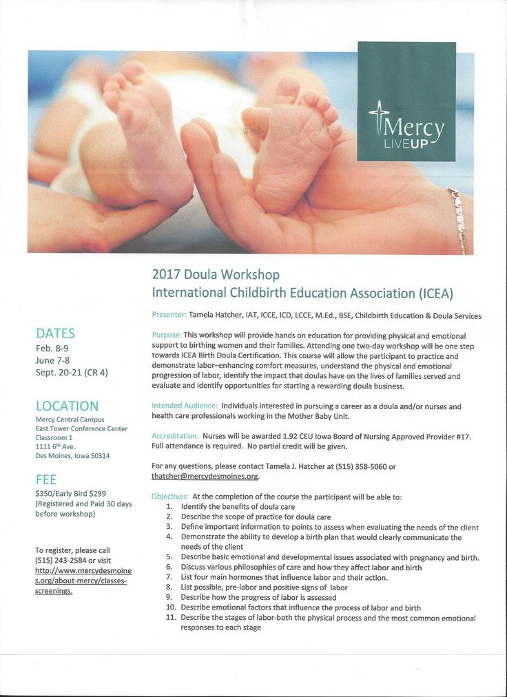 19.2 Iowa Board of Nursing CEU's provided. Completes requirements for the International Childbirth Education Association (ICEA) workshop certification.  Meets requirements for Doula of North America/Doula International (DONA) and ICEA re certification contact hou