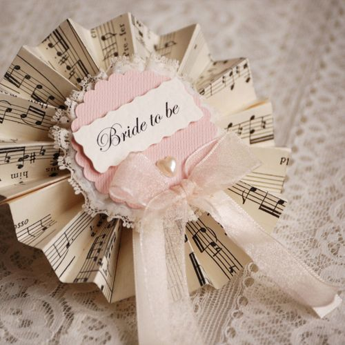 Bridal Party Rosettes...handcrafted from vintage music sheets, lace ...